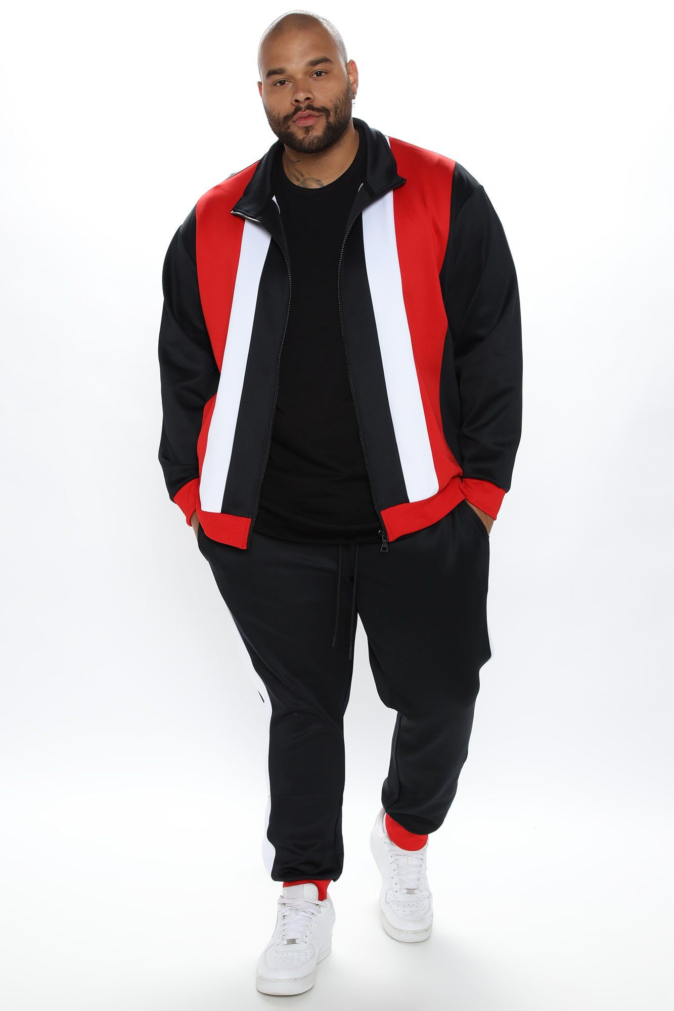 Mens Free To Feel Track Jacket in Black/Combo size 2XL by Fashion Nova