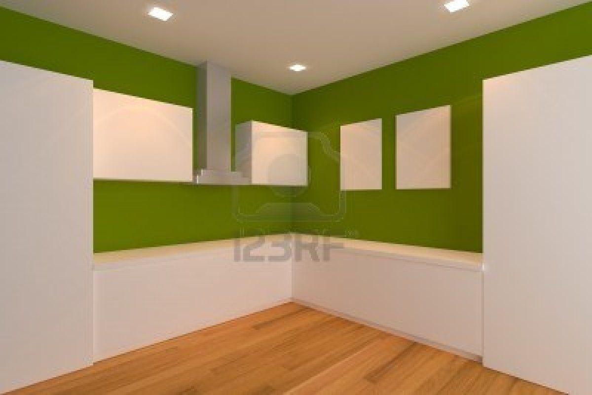 vuota interior design per cucina con parete verde Archivio ...