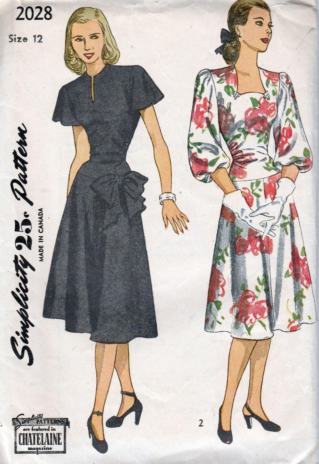 Simplicity 2028 vintage 1940s sewing pattern ladies party dress simplicity 2028 ladies dress vintage 1940s sewing pattern jeuxipadfo Choice Image