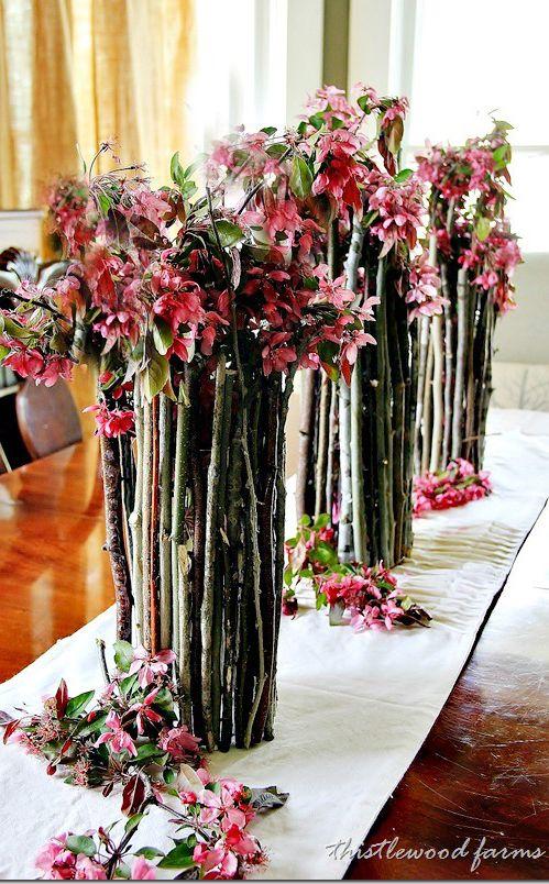 Diy Wood Stick Vase Dont Like The Flower Arrangement Much But I
