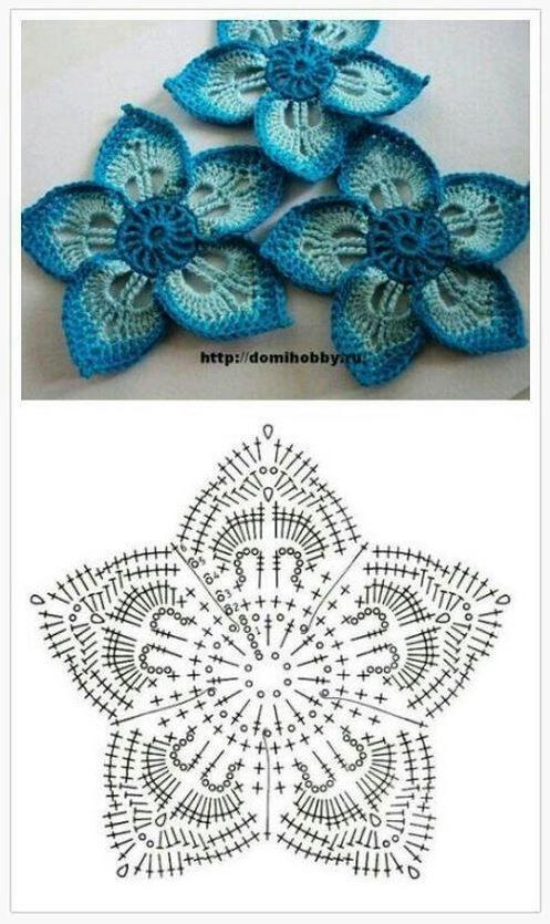 5 Petal Hawaiian Crochet Flower Croche Pinterest Crochet