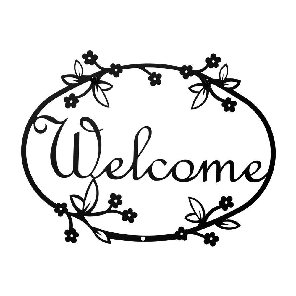 Iron Floral Home Address Welcome Sign Med - Heavy Duty Metal ...