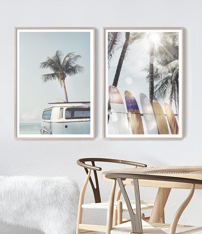 Surfboard Wall Art By Little Ink Empire Surfer Room Decor Modern Coastal Decor Surf Decor Bedroom