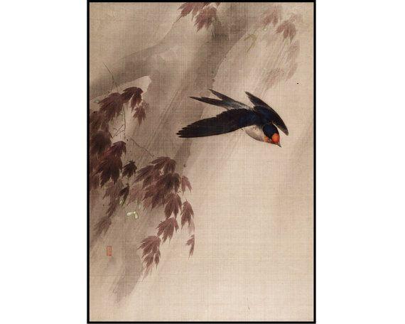 Swallow Digital Print  Bird Print  Vintage Bird by HokusaiBand