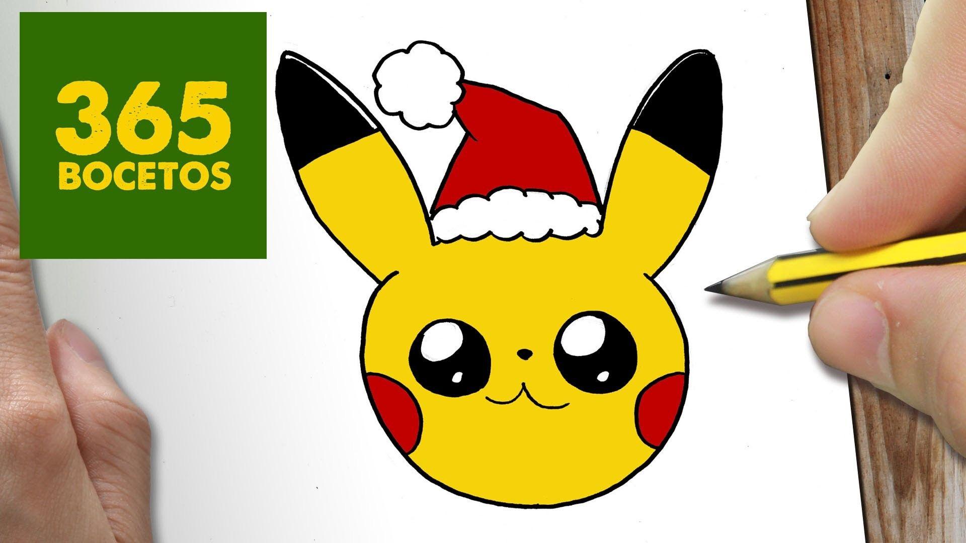 Como Dibujar Un Pikachu Para Navidad Paso A Paso Dibujos Kawaii