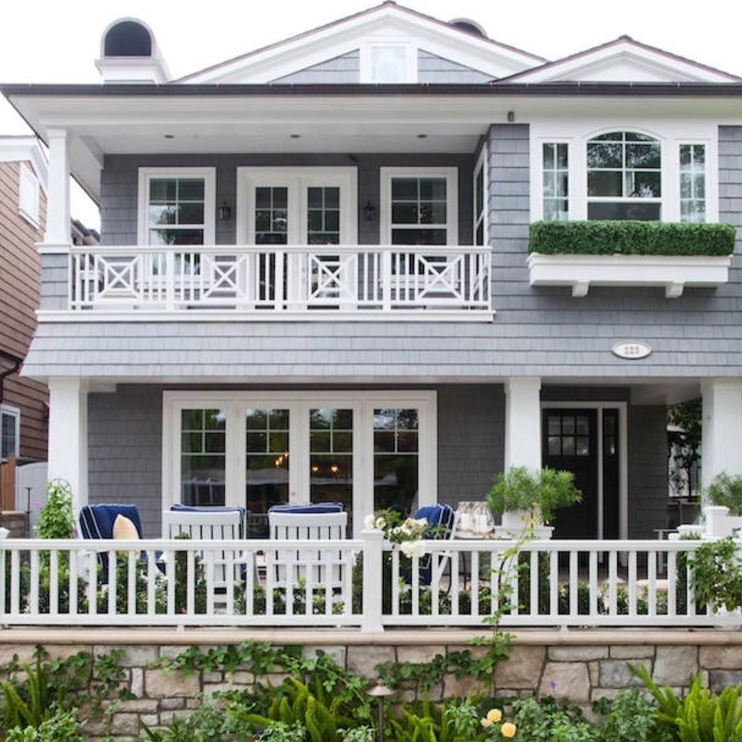 Absolutely love this grey and white coastal home from for Beach house gray paint colors