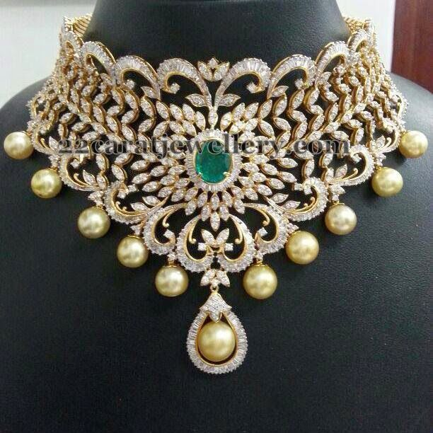bridal choker in diamonds indian diamond wedding. Black Bedroom Furniture Sets. Home Design Ideas