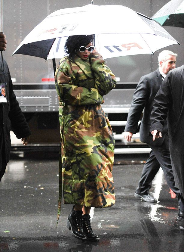 Rihanna Braving The Weather In New York City.