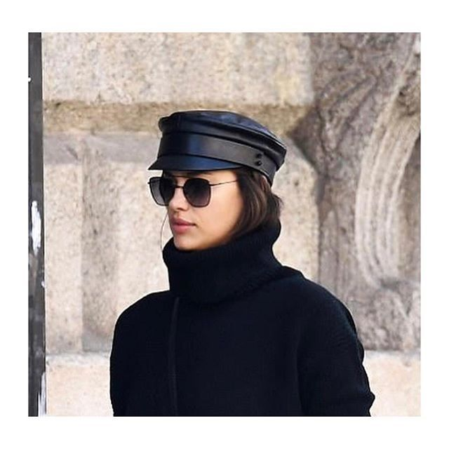 Supermodel  irinashayk wearing leather baker boy cap  Ruslan Baginskiy  hat e990ae41d3c