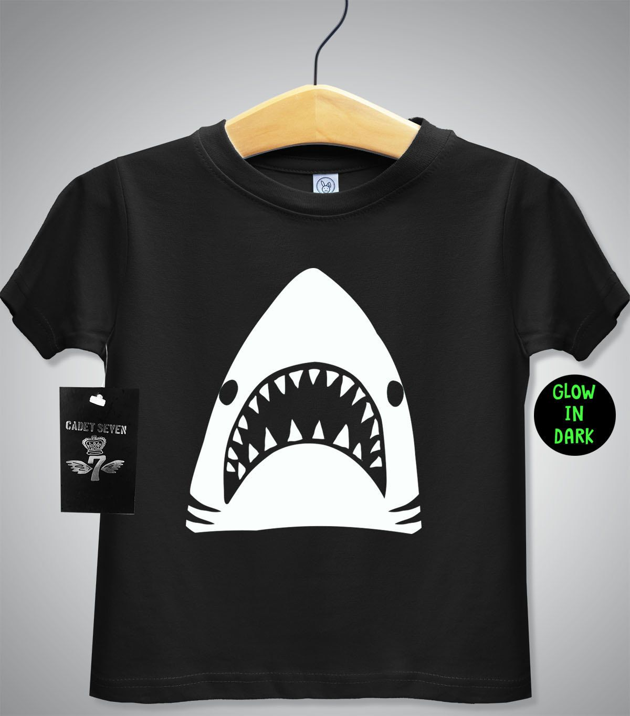 Black t shirt for babies - Glow In The Dark Shark Tshirt Baby T Shirt Toddler T Shirt Funny