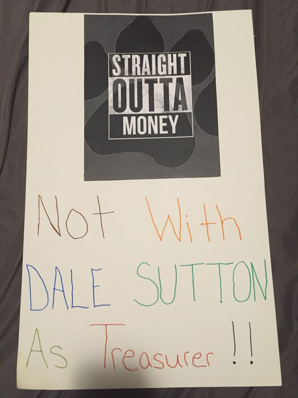 Treasurer poster Student council, Straight outta money