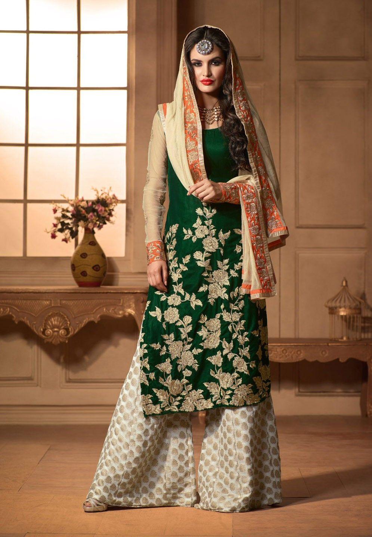 76520f50bb Green Pakistani palazzo kameez dress in velvet   Desi   Pinterest