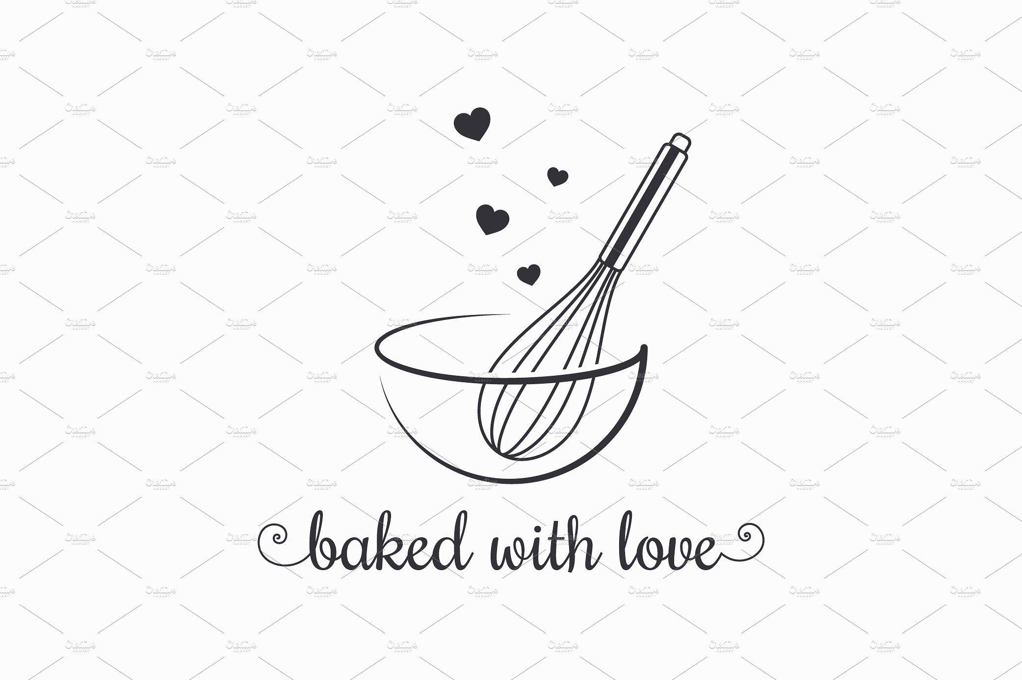 Baking with wire whisk logo on white Whisk logo, Baking
