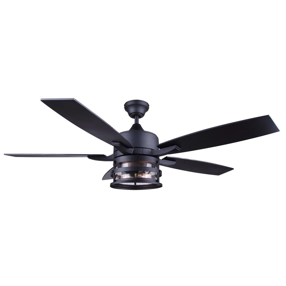 Canarm Duffy 52 In Indoor Matte Black Downrod Mount Ceiling Fan With Light Kit And Remote Control Cf52duf5bk The Home Depot In 2020 Black Ceiling Fan Rustic Ceiling Fan Ceiling Fan With Light