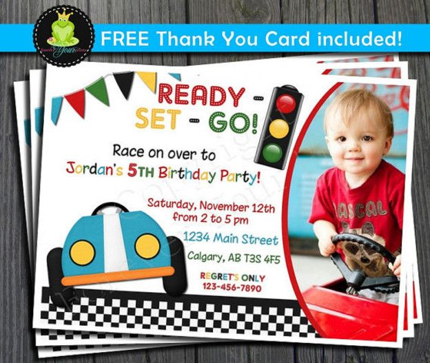 Race Car Birthday Party Invitation Wording