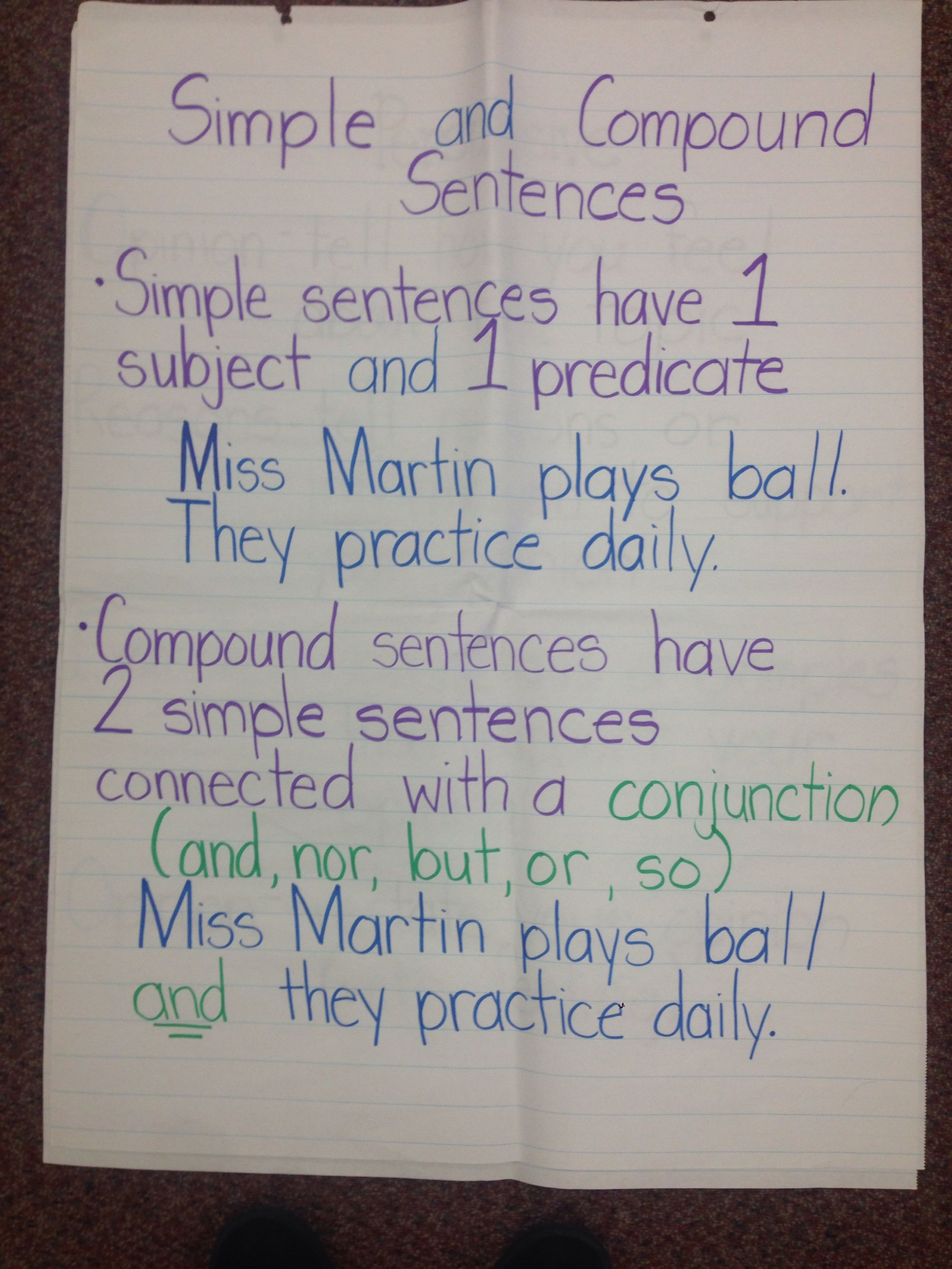 Simple And Compound Sentence Anchor Chart