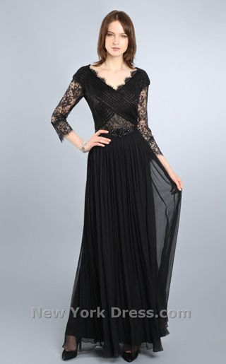 Black lace full length evening gone with scalloped style neckline