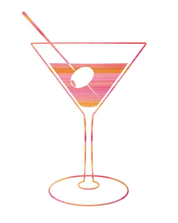 Fun Pink Cocktail Print / Bar Decor / Martini by MadKittyMedia