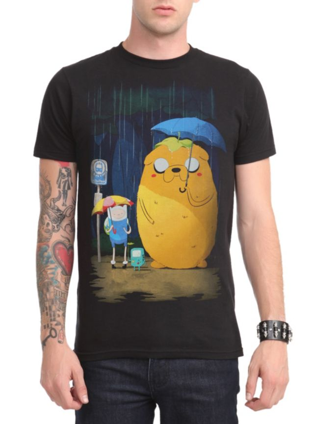 b39f0746f Adventure Time T-shirt with an image of Jake and Finn standing in the rain.