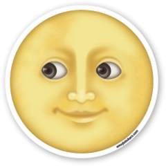 Full Moon With Face Emojistickers Com Stiker