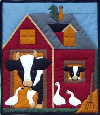 round barn quilt pattern | cow and her calf peek from the ... : cow quilt pattern - Adamdwight.com