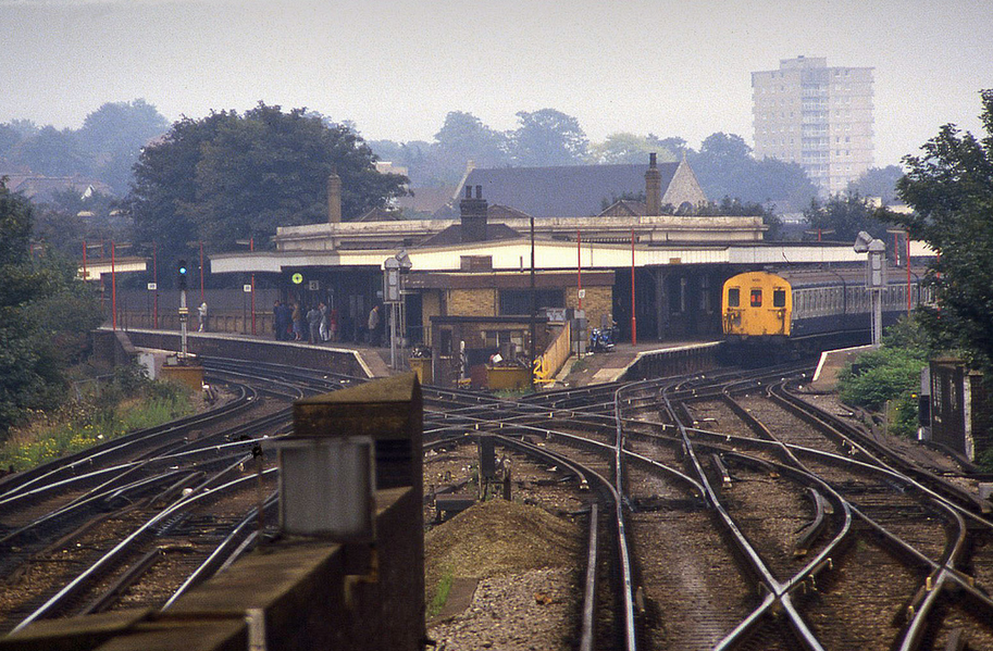 A train picks up passengers at Lewisham train station on 23/09/1986 (probably the Hayes train - I used to live in the area and caught that train many times). Picture by Timothy Saunders