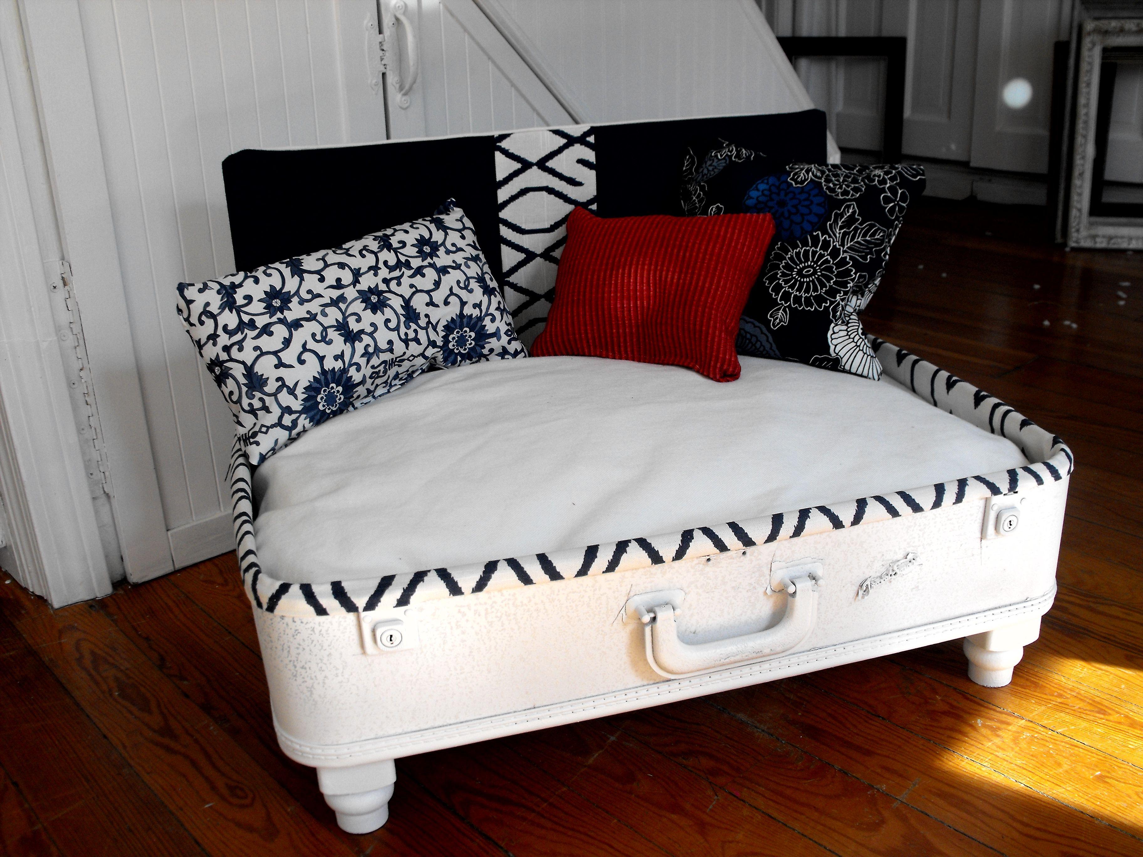 nautical style upcycled dog bed vintage suitcase Dog bed
