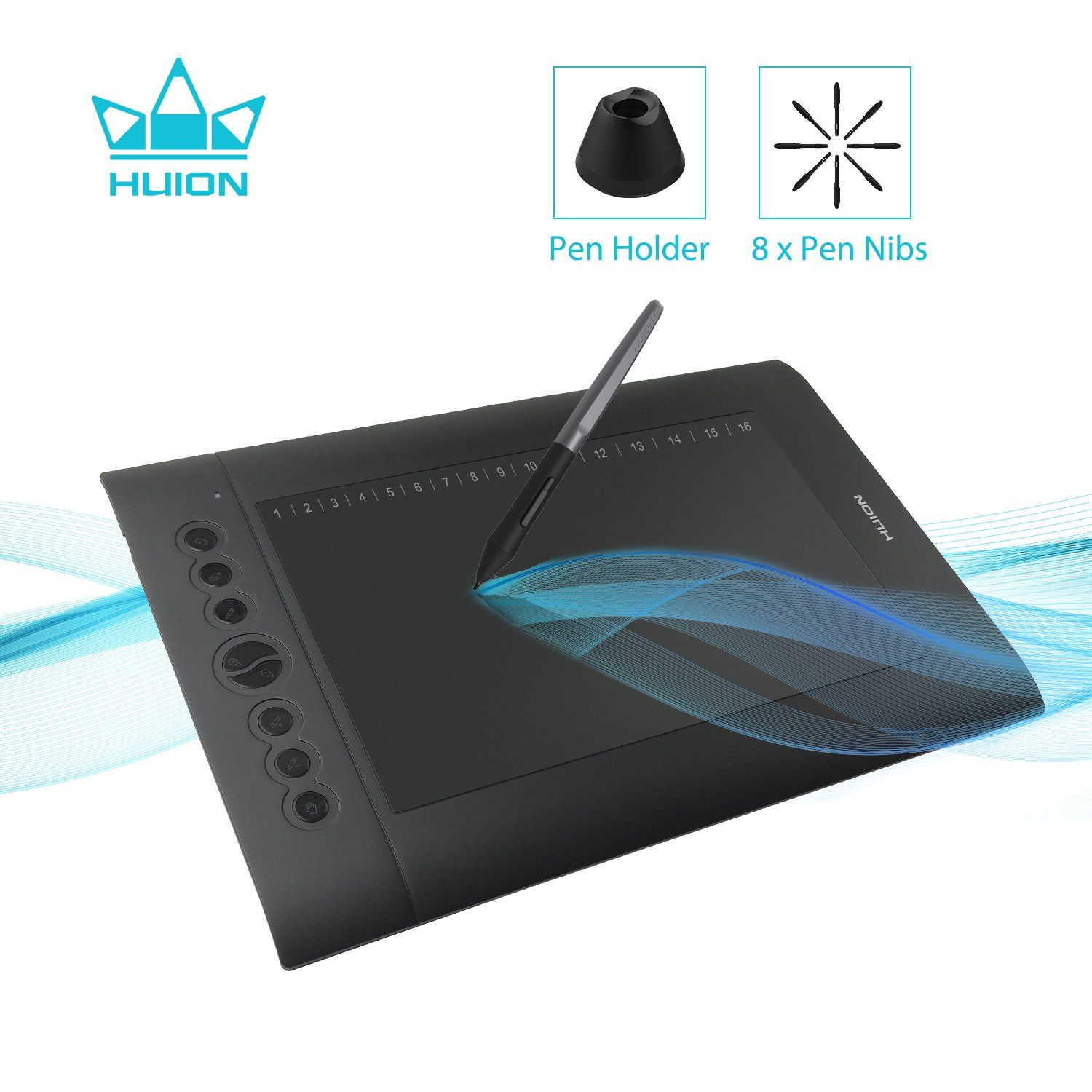 Huion H610 Pro V2 Graphic Drawing Tablet Tilt Function Battery