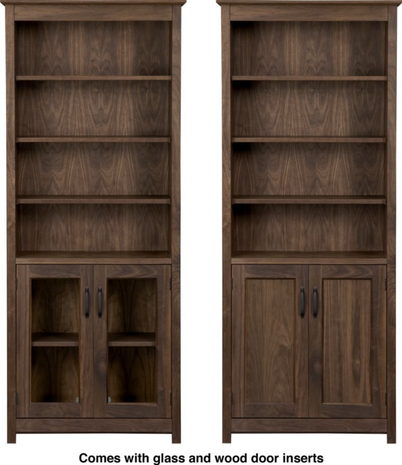 Ainsworth Walnut 30 Media Tower With Wood Gl Doors In Bookcases Towers Crate And Barrel