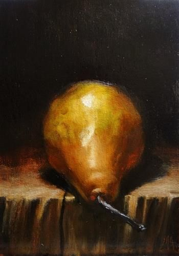 "Daily Paintworks - ""Pear on the edge"" - Original Fine Art for Sale - © Mary Ashley"
