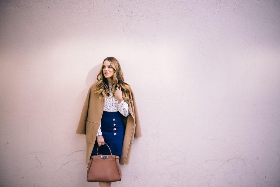 Gal Meets Glam Lace & Crepe Dress - Self Portrait, CH Carolina Herrera Coat, and Fendi Bag