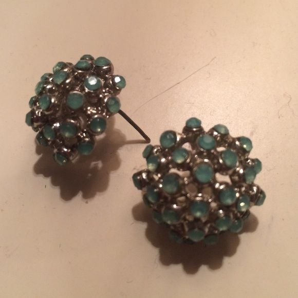 Aqua jewel studs Aqua stone studs, round. silver accents Jewelry Earrings