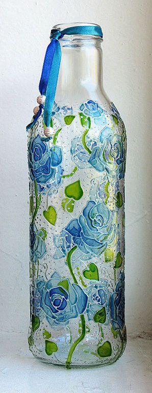 Hand painted bottle by ElenaVitro- Blue roses