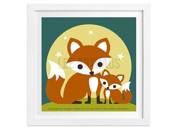 244 Fox Nursery Print  Mom with Baby Fox Wall Art  by leearthaus