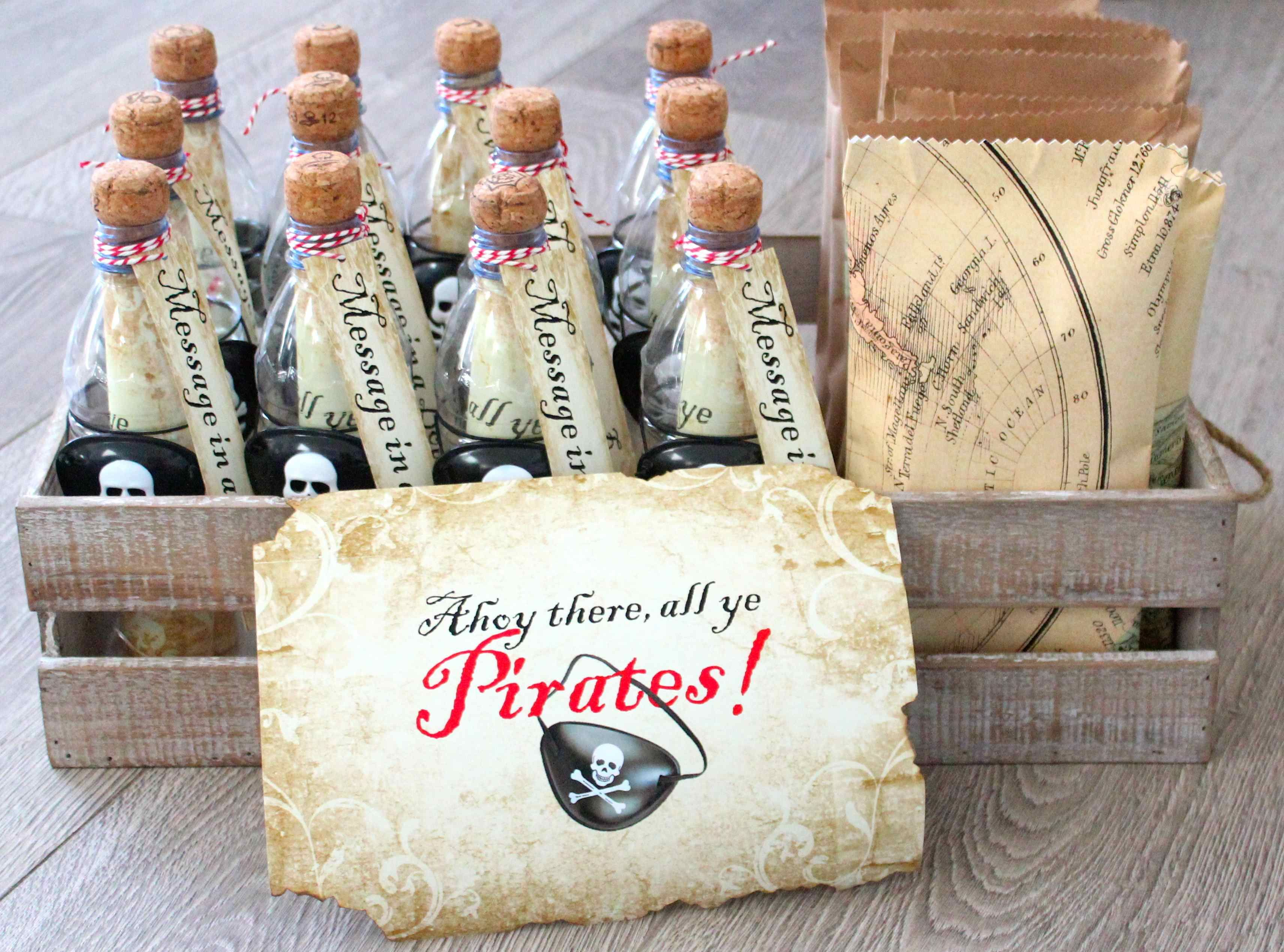 Homemade Message in a Bottle Pirate Party Invites – Message in a Bottle Party Invitations