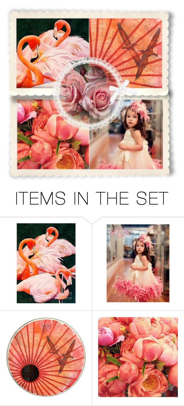 """""""Beauty in Coral and Pink"""" by giovanina-001 ❤ liked on Polyvore featuring art"""
