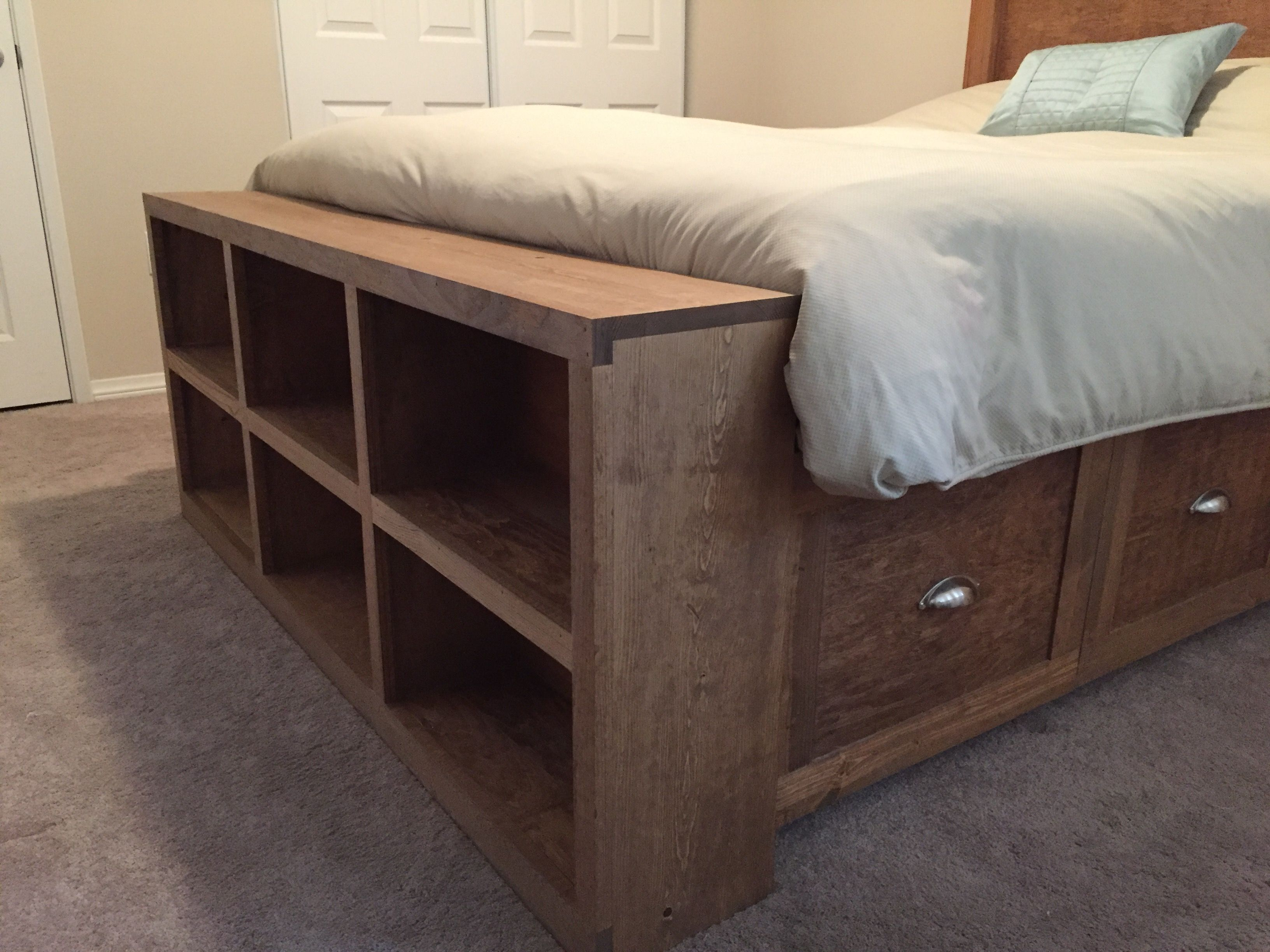 footboard storage Bed frame with storage, Bookshelves