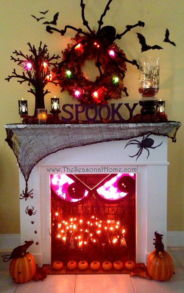 Spooky Fall Fireplace Decor Idea for Halloween - 14 Cozy Fall - Spooky Halloween Decorations