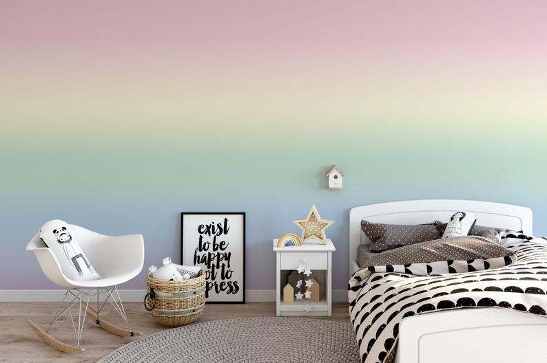 Rainbow Mist Ombre Wallpaper Removable Wallpaper Peel Etsy Ombre Wallpapers Removable Wallpaper Prepasted Wallpaper
