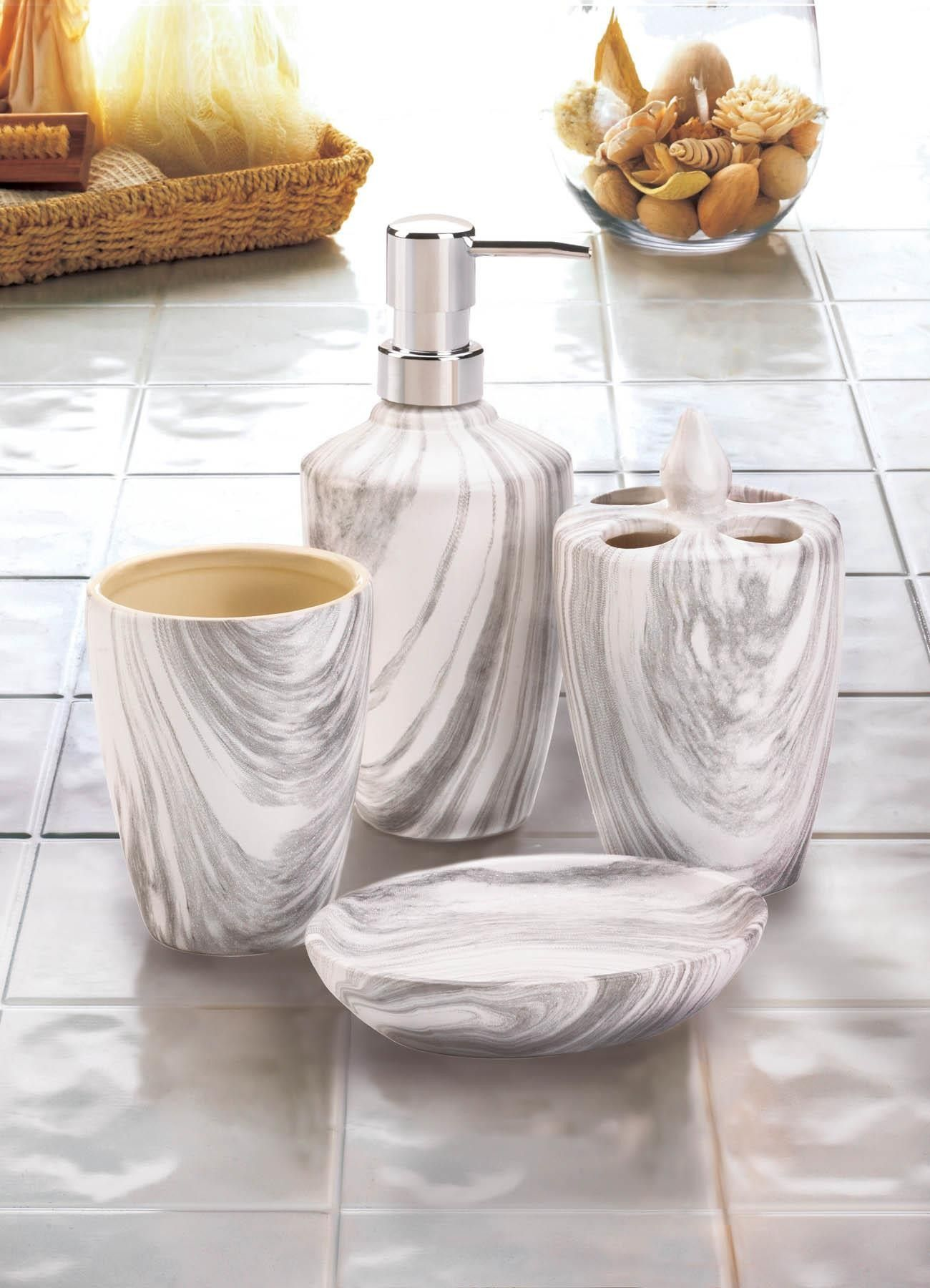 Marble Printed Bath Accessory Set 19 95 In Stock Type 10018749 In