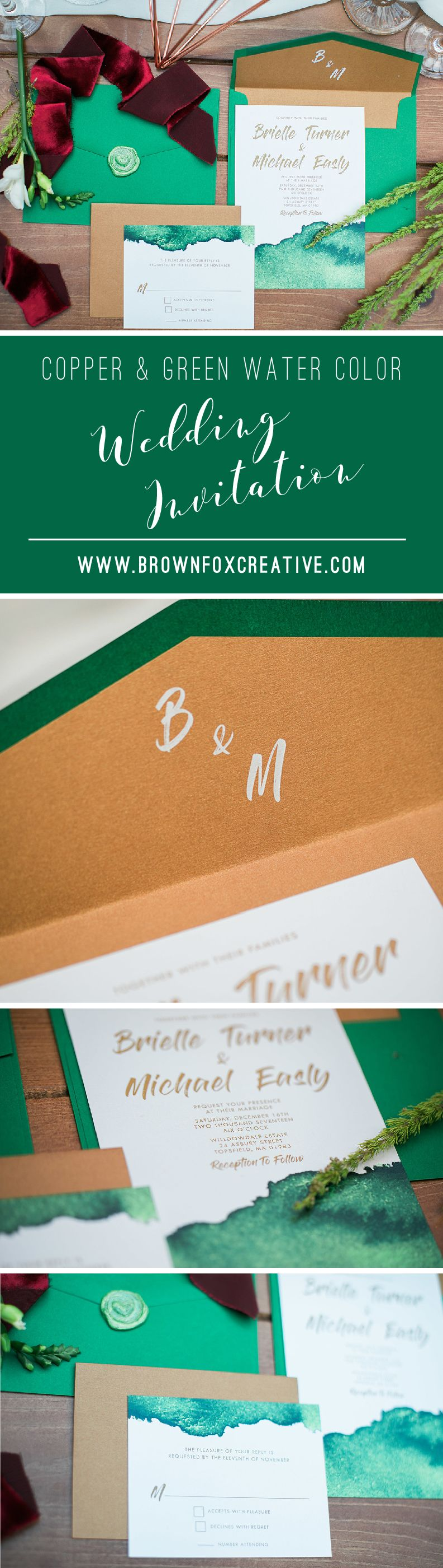 modern copper green water color wedding invitation includes