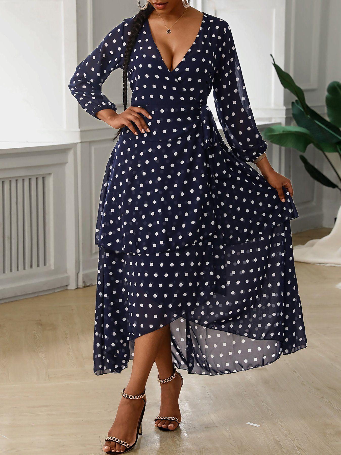Polka Dot Chiffon Polka Dot Print Layered Hem Maxi Dress Blue L In 2021 [ 1800 x 1350 Pixel ]