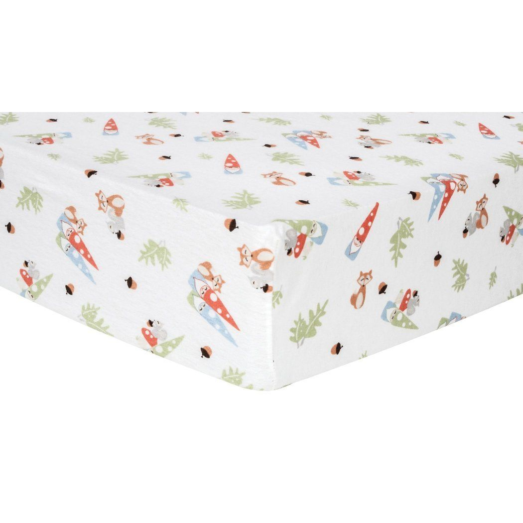 White Red Green Forest Gnomes Flannel Fitted Crib Sheet