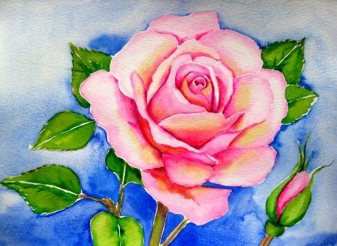 Watercolor Painting Easy Roses Pink Yellow Rose Watercolor Rose