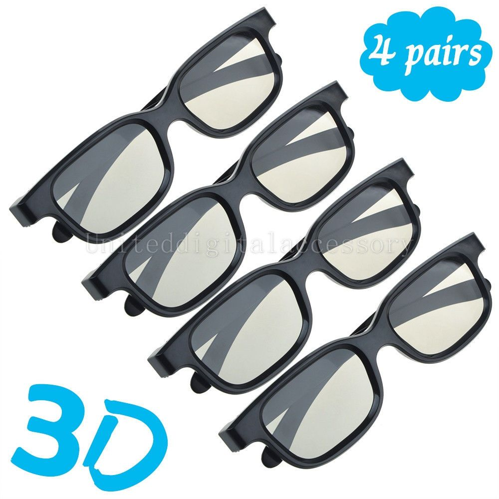 4 Pairs Passive 3D Glasses with Polarized Plastic Lenses for LG 3D ...