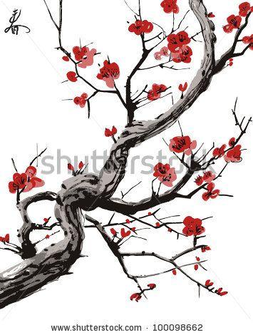 Realistic Sakura Blossom Japanese Cherry Tree Isolated On White