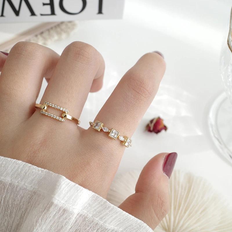 Cross finger ring index finger ring three rings three rings diamond open ring