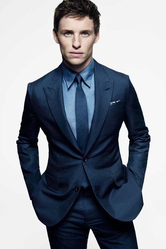 Eddie Redmayne wearing Navy Suit, Blue Dress Shirt, Navy Tie ...