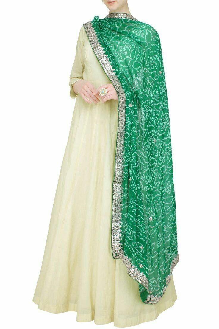 82b069a7dd Off White Party Wear Long Anarkali Salwar Suit With Green Designer Dupatta.