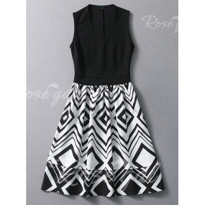 Vintage U Neck Ruffled Geometric Pattern Sleeveless Women's Dress
